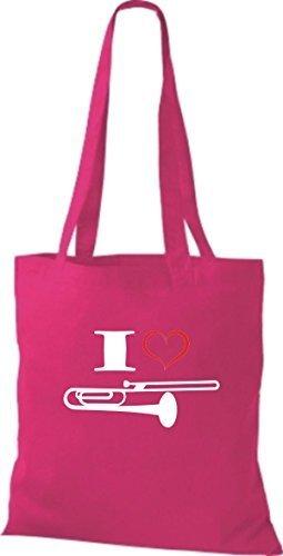 Shirtstown Stoffbeutel Musik I love Posaune Blassinstrument pink