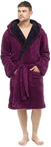 Michael Paul Hombres de lujo suave forro polar albornoz Rojo Wine/Black Hooded Medium