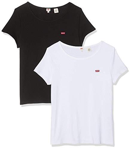 Levi's Damen 2Pack Tee T-Shirt, Mehrfarbig (2 Pack White +/Mineral Black 0000), Medium (Herstellergröße: M)