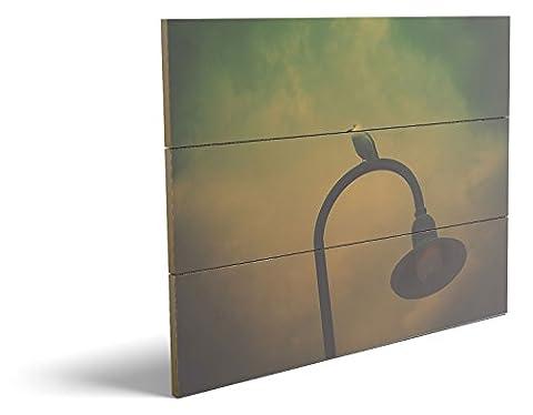 Vogel auf der Laterne, qualitatives MDF-Holzbild im Drei-Brett-Design mit hochwertigem und ökologischem UV-Druck Format: 80x60cm, hervorragend als Wanddekoration für Ihr Büro oder Zimmer, ein Hingucker, kein Leinwand-Bild oder Gemälde