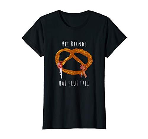 Damen Oktoberfest Brezel Damen Tshirt-Mei Dirndl hat heut frei (Red Hat Blue Shirt Kostüm)