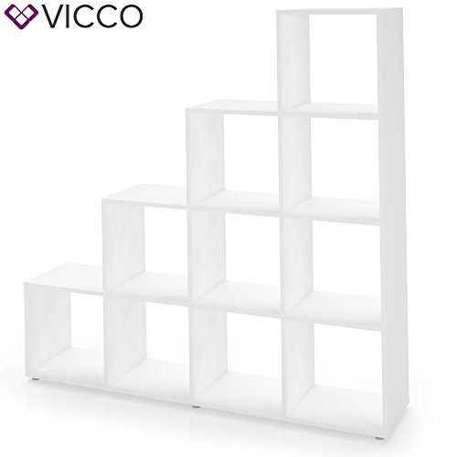 VICCO Treppenregal Weiß 10 Fächer - Raumteiler Stufenregal Bücherregal Aktenregal Standregal