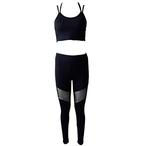 AmazingDays Chemisiers T-Shirts Tops Sweats Blouses,Femme Sports Yoga Workout Gym Fitness Halter Haut Leggings Pantalons Vêtements de Sport Black