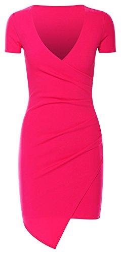 Mesdames Asymmetric Wrap Plus Drapé Mini Robe moulante EUR Taille 36-42 Rose vif