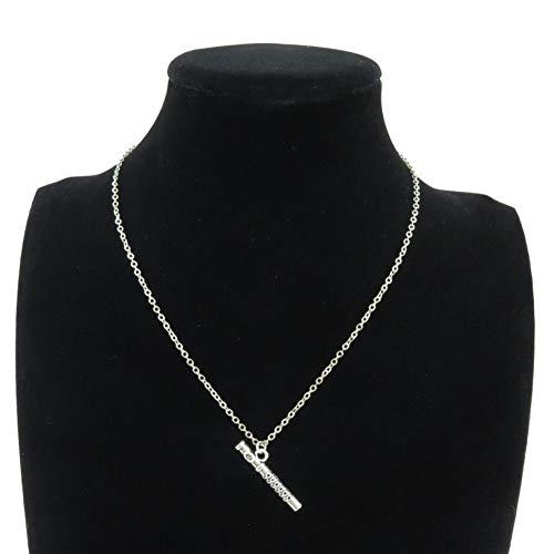 JMZDAW Halskette Anhänger Legierung Silber Frauen Mädchen Schmuck Musikinstrumente Flöte Anhänger Chunky Halsband Halskette 18