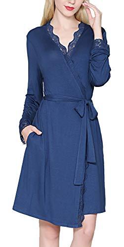 KOWENTIK Damen Morgenmantel Lang Bademantel Spitze Pyjamas Saunamantel Schlafanzug Nachtwäsche Kimono Schwangerschaft mit Gürtel Taschen (Blau, L)