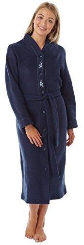 femmes CHAUDE POLAIRE MANCHES LONGUES & bouton poches devant souple Robe de chambre veste - Marine Profond, 16-18