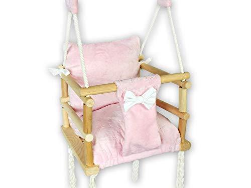 BlueKitty Schaukel für Kinder; Babyschaukel; Kinderschaukel mit Kissen; Schaukel für Haus und Garten; Schaukel aus Holz, Babyschaukel, Stoffschaukel, Kleinkindschaukel, Innenschaukel, Holzschaukel