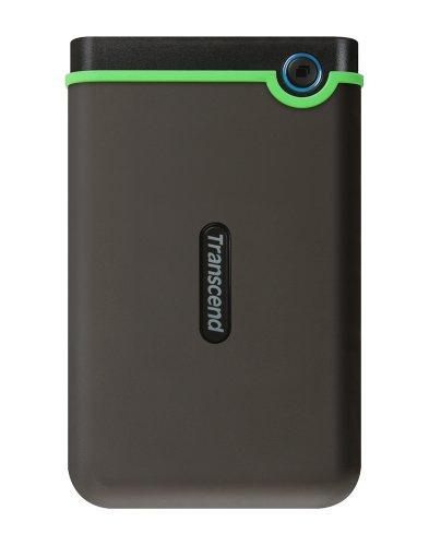 Transcend TS2TSJ25M3 StoreJet M3 externe Anti-Shock Festplatte 2TB (6,4cm (2,5 Zoll), 5400rpm, 8MB Cache, USB 3.0) grau/grün