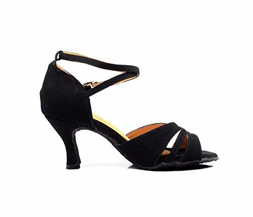 DQuietness Scarpe da ballo femminile scintillante scintillante latino / paillette / tallone cubano sintetico nero / argento / oro / multicolore Black
