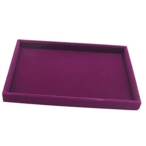 P Prettyia 1x Samt Schmuck Tablett Schmuck Aufbewahrungsbox Schmuckständer Halter 35x24x3 cm - 1