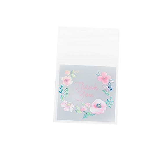 Westeng 100 Stück Süßigkeiten Tasche Selbstklebend Plätzchen Bonbons Tüten Flachbeutel Gebäck Plastiktüten Geschenk Tüten für Weihnachten Danksagung Size 5.5 * 5.5+3cm