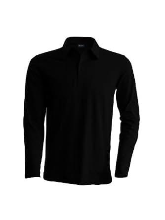 Piqué Langarm Poloshirt - Farbe: Black - Größe: S