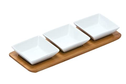 Premier Housewares Square Snack Bowls on Bamboo Tray - White, Set of 3