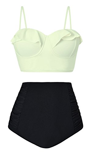 Aixy Frauen Mode Niedliche Rüschen Flouncing Crop Top Hohe Taille Badeanzüge Zwei Stück (Stück Zwei Tag Bikini-badeanzug)