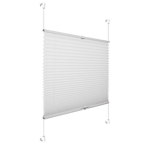 Grandekor *AKTIONSPREIS* Plissee Klemmfix Fenster 50 cm Plissee Rollo Sonnenschutz ohne Bohren -Weiß-95*100