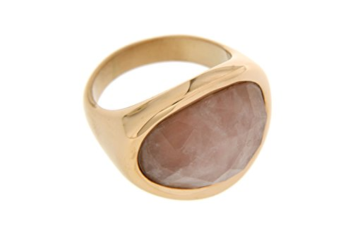 Kettenworld Edelstahl Ring mit Rosenquarz rosévergoldet