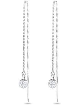 Elli Damen-Durchzieher Swarovskikugel 925 Sterling Silber Swarovski Kristall weiß Brillantschliff 312360811