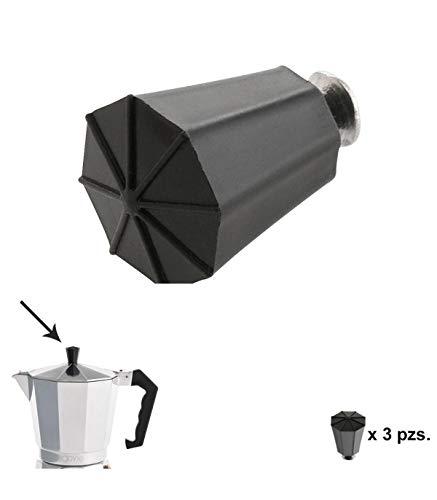 ORYX Pomo Cafetera 2/3 / 6/9 y 12 Tazas, Negro, 10x10x4 cm, 3 Unidades