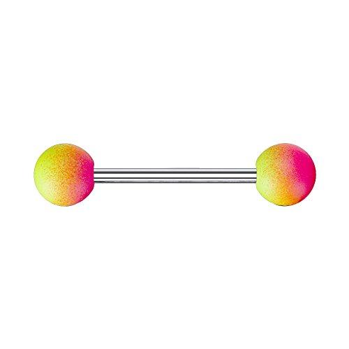 Piercingfaktor Barbell Stab Piercing Hantel Stecker Zungenpiercing Zunge Intim Brust Oral Ohr Tragus Helix Ohrpiercing Kugel mit Regenbogen Pink Gelb