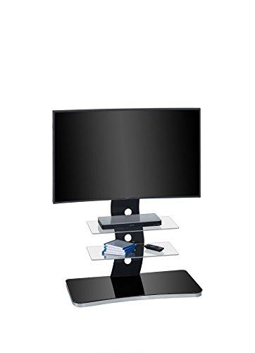 fernsehmoebel glas Maja Möbel TV-Rack, Glas, Metall Alu-Schwarzglas, 88,00 x 44,00 x 122,00 cm