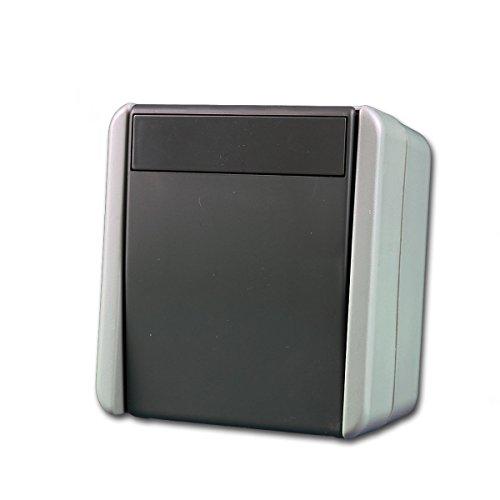 Feuchtraum Aufputz Schalter Steckklemmen Aufbau Außen Steckdose fach IP44 Grau (SCHALTER 2- POLIG SF20GY) (Lichtschalter Installieren Dimmer)