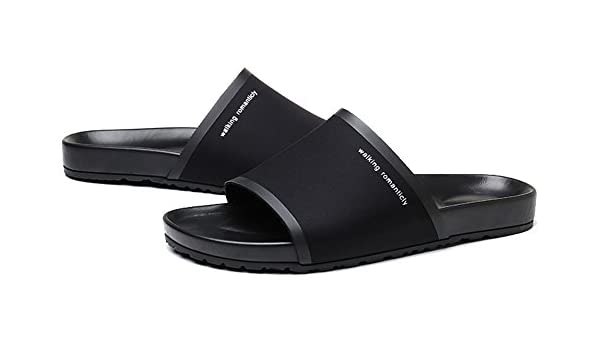 a050b1421f17 RESPEEDIME Men s Casual Leather Sandals Indoor and Outdoor Non-Slip Cozy  Slippers 1 Black 4.5UK  Amazon.co.uk  Shoes   Bags