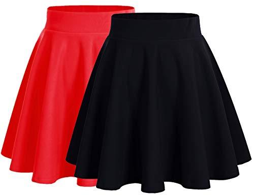 Dresstells Jupe Mini Courte évasée en Polyester, 2-Pack(Black+Red) L