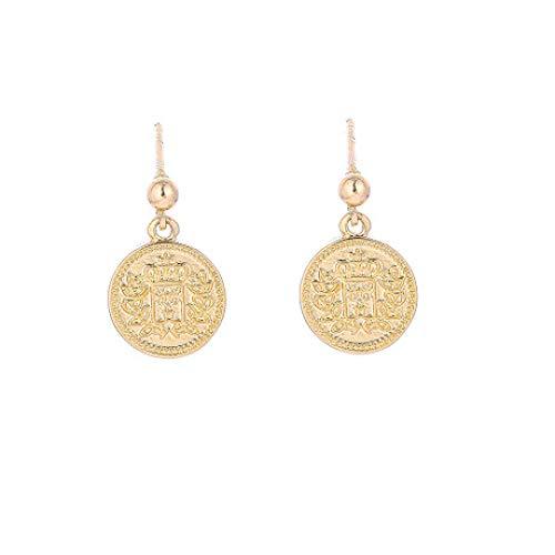 Lywljg Doppelseitige Muster Porträt Runde Ohrringe Gold Münze Ohrringe