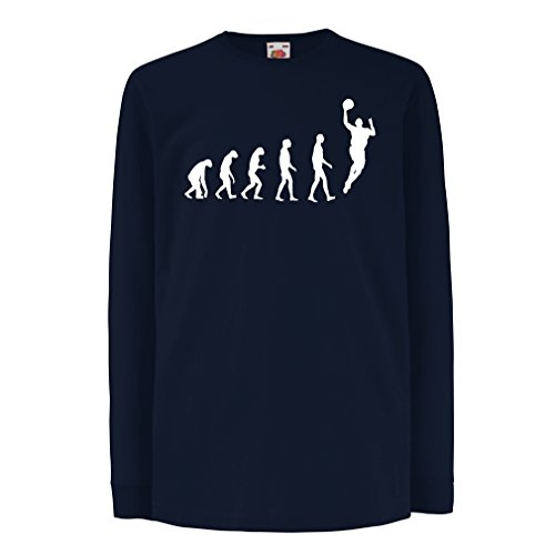 lepni.me Kinder-T-Shirt mit langen Ärmeln Evolution Basketball (14-15 years Blau Weiß) (Graphic Basketball T-shirt)