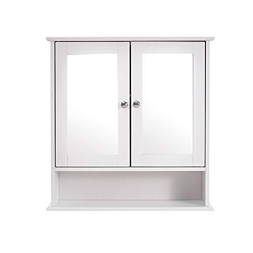 Anaelle Pandamoto Armoire de Toilette Rangementavec 2 Portes Miroirs + 2 Etagèressur Salle de Bain, Taille: 58 * 56 * 13cm, Poids: 5kg, Blanch