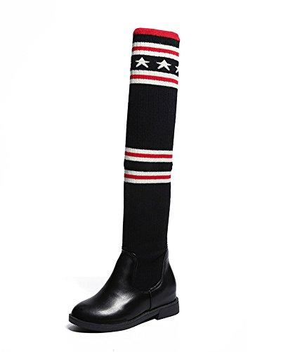 Minetom Damen Mädchen PU Leder Spleiß Elastische Stricksocken Über Knie Stiefel Mode Lang Stiefel Gummistiefel Flache Schuhe Schwarz / 54 CM EU 40 (Zoll-knie-boot 6)