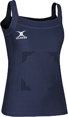 New Gilbert Haut Femme Blaze Fermeture Scratch Netball Kit Femmes Sans Manches T-shirts Bleu marine