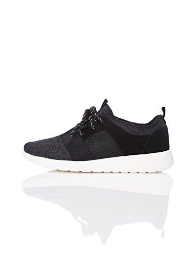 Track down Damen Sneaker mit Material-Mix , Schwarz (Black), 40 EU