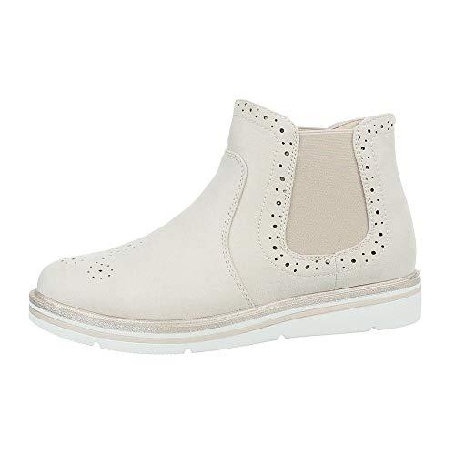 Ital-Design Damenschuhe Stiefeletten Chelsea Boots Synthetik Creme Gr. 40 -