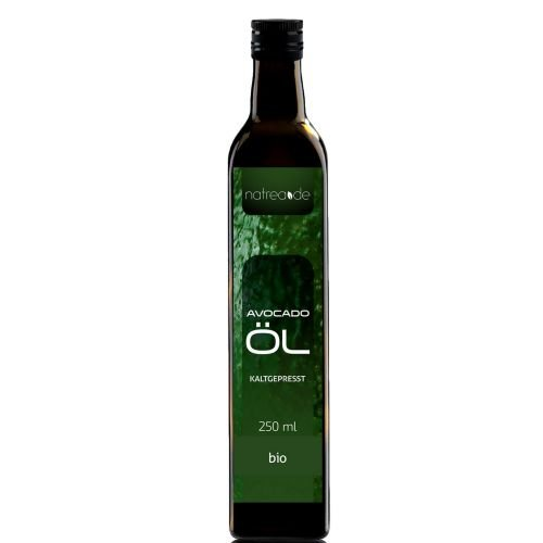 Natrea Avocadoöl | kaltgepresst ✔ 100% reines BIO-Öl ✔ in 250 ml Lichtschutzflasche (1 x 0,25 l)