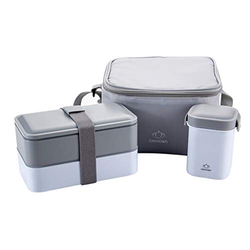 DLT Japanische traditionelle Bento-Box, 1,2L / 42 Unzen stapelbar 2-Stufen-Leckage-Paket-Lunch-Container mit Isolierbeutel, Suppenschüssel (Farbe : Gray) - Traditionelle Konzept, Öl