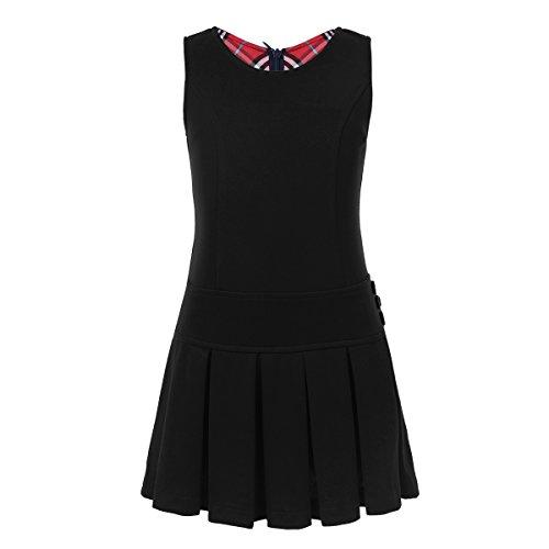 ider Schulmädchen Gefaltete Rock Kinder Schule Uniform ärmellos Knielang Minikleid Einschulung Outfit in Marineblau, Khaki, Schwarz gr. 92-140 Schwarz 134-140/8-9 Jahre ()