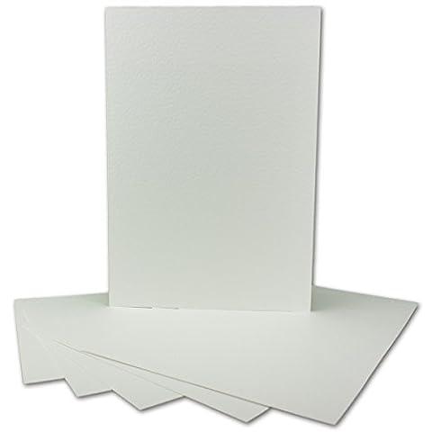 20 Stück DIN A4 Karton gehämmert   Farbe: Weiss   297 x 210 mm - 246 g/m²   Einzelkarte ohne Falz - Ideal zum Basteln, Scrapbooking, Grußkarte   GUSTAV NEUSER
