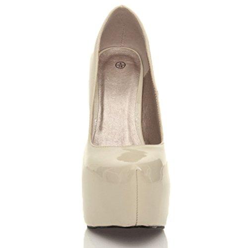 Escarpins de fête à talons hauts et plateforme cachée femmes chaussures taille Beige créme vernis