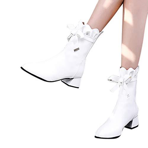 Iwähle)♥ Mode Reine Farbe runde Kappe Reißverschluss Stiefel Chunky Heels Vintage Frauen Stiefel (Weiß, 37) -