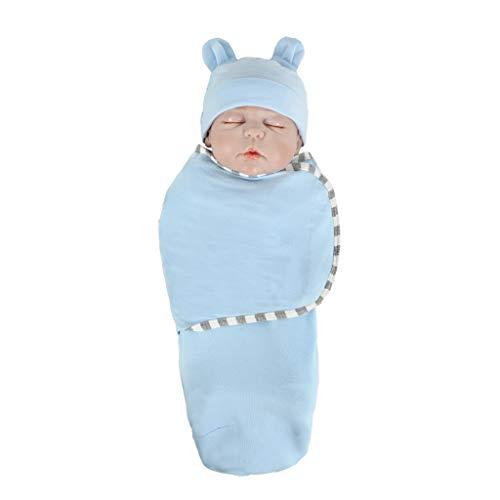 WFRAU 0-18 Monate Jungen Mädchen 2 Stücke Langarm Feste Schlafsack Schlafsack + Hut Schlafwindel Decke Set, Kleinkind Baby Schlaf Warme Kinderwagen Wrap Baby Schlaf Pyjama