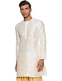 Manyavar Men's Full Sleeve Mid-Thigh Blended Kurta (MK50103)