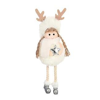 Catkoo Decoraciones Navideñas para árbol De Navidad Dibujos Animados Hechos A Mano Papá Noel Muñeco De Nieve Ángel Reno Muñeca De Peluche Adornos Navideños
