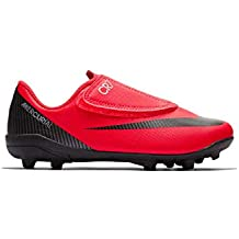 Nike Botas de Futbol CR7 Mercurial Vapor 12 Club Suela MG con Velcro Roja Niño
