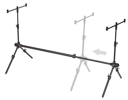 ARAPAIMA FISHING EQUIPMENT Solider Rod Pod teleskopisch verstellbar inkl. Rutenauflagen und Transporttasche Schwarz nur RodPod (Rute 2 Rod)