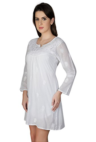 Indiankala4u Ladies Kurti Tops Hand Embroidered Chikankari Kurta for Women…