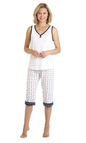 La Marquise Womens Vest Top Coast Design Pyjama Set Nightwear 43203 Blanc