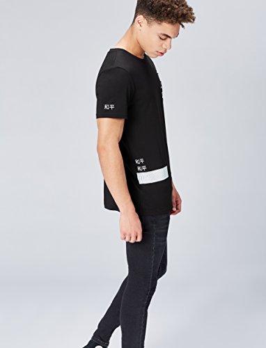 FIND Herren T-Shirt mit Print Schwarz (Black/White)