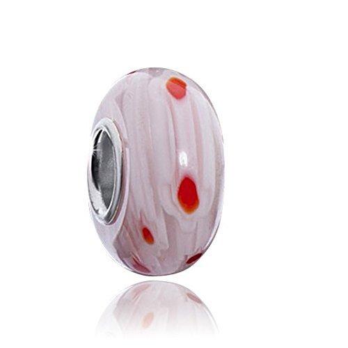 Vetro Murano charm in rosa/rosso massiccio 925 Argento Sterling tubo per perline bracciali e collane